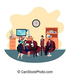 工作, 組, 商業辦公室, 人們