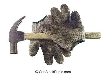 工作, 老, 骯髒, 手套