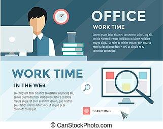 工作, 辦公室, 職員, 插圖, 時間, 矢量, computer., loupe, 股票, infographic., design.