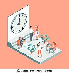 工作, 針對, clock., 背景, 辦公室人們