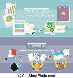 工作, 销售, 概念, 计划, 队