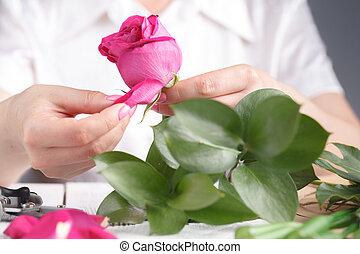 工作, florist's, 女性, 創造性