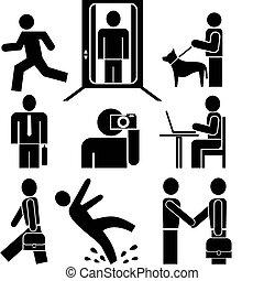 工作, -, pictograms, 人們