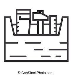 工具箱, 图标, 背景, 线, 白色