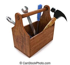 工具箱, 带, tools., skrewdriver, 锤子, 手锯, 同时,, wrench., 3d