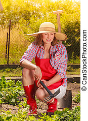 工具, 婦女, 園藝, 花園, 工作