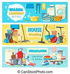 工具, 洗衣房, 家务劳动, 打扫, 服务, 旗帜