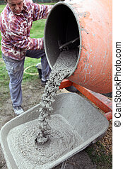 工匠, 做, 水泥
