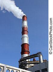 工厂, 烟囱, 带, 烟