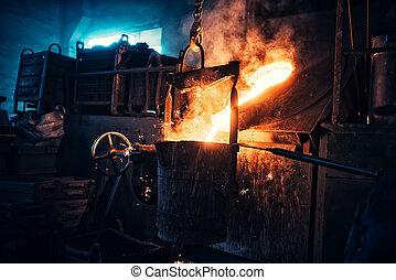工場, ∥あるいは∥, 鉄, steelworks., 詳細, plant., 産業, metallurgic, 製錬, 金属, 液体, 流れること