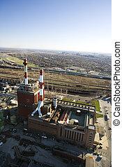 工場, ∥で∥, smokestacks.