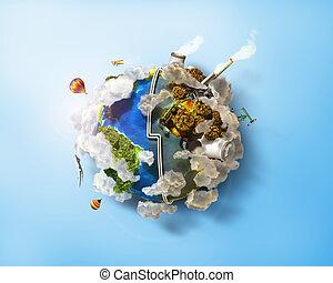 工場, を除けば, 汚染, 町, 都市, eco, エネルギー, 惑星, energy., landfill., day., 空気, 緑, 原子, 太陽, 地球友好試合, plants., concept., 風, 汚い