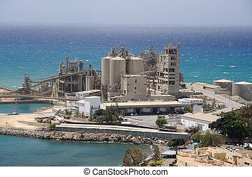 工場, セメント, 海岸