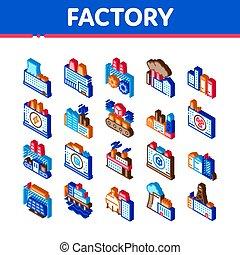 工場, ベクトル, セット, 産業, アイコン, 等大