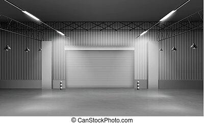 工場, 倉庫, 内部, 倉庫, 空