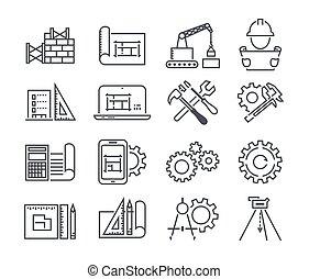 工学, そして, 製造, ベクトル, アイコン, セット, 中に, 薄いライン, スタイル