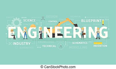 工学, 概念, illustration.