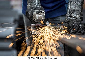 工業労働者, 切断, 金属
