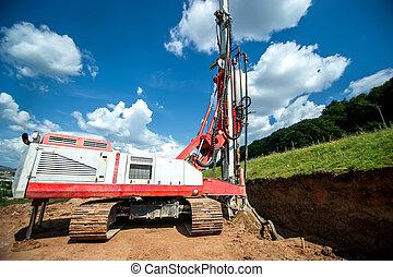 工業機械, 為, 操練, 洞, 在, the, 地面