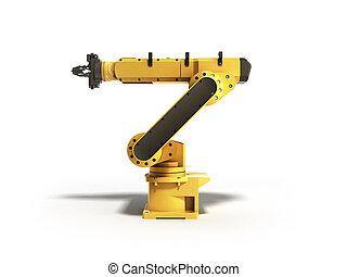 工業用ロボット, レンダリング, 背景, 白, 3d