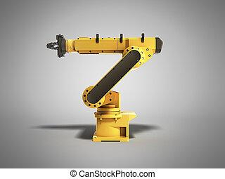 工業用ロボット, 灰色, レンダリング, 背景, 3d