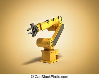 工業用ロボット, 黄色, レンダリング, 背景, 3d