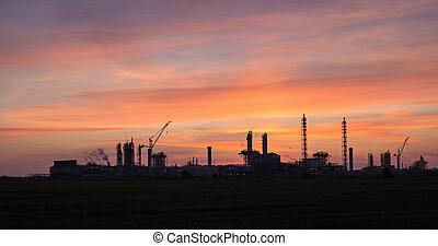 工業, 傍晚, 風景, 看法