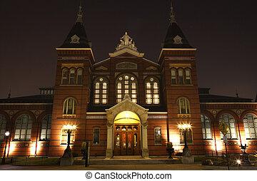 工業, 建築物, 藝術, 博物館, 華盛頓特區, smithsonian, 夜晚, 机构