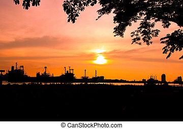 工業, 把畫成側面影像, 樹, 工廠, 傍晚, 船