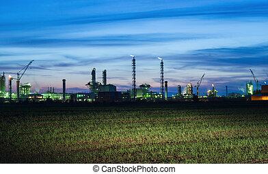 工業, 看法, 風景, 夜晚