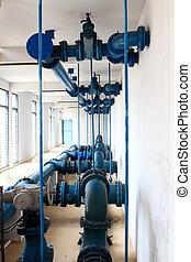 工業, 管子, 抽, 水, 車站, 內部