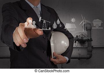 工程师, 工作, 新的计算机, 带, the, 输送, 在中, 一, 工业的浪费, 水, 打扫, 方便, 作为, 概念
