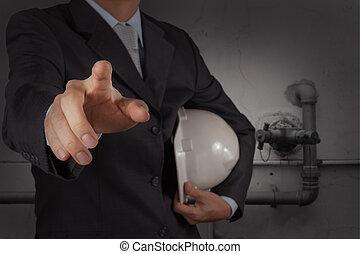 工程师, 带, the, 输送, 在中, 一, 工业的浪费, 水, 打扫, 方便, 作为, 概念
