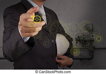 工程师, 点, 齿轮, 带, the, 输送, 在中, 一, 工业的浪费, 水, 打扫, 方便, 作为, 概念
