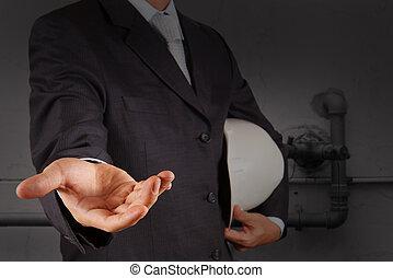 工程師, 開啟的手, 由于, the, 吹奏, ......的, an, 工業的浪費, 水, 清掃, 設施, 如, 概念