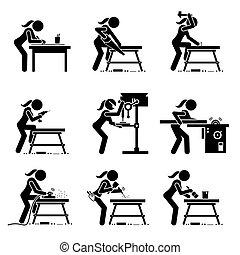 工藝, 做, 木制, 工具, icons., 棍, 木匠, 工業, 婦女形象, 設備