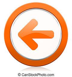 左向き矢印, オレンジ, アイコン, 矢の 印