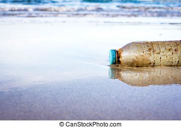 左, 浜, 観光客, びん, プラスチック