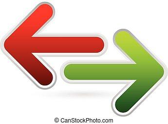 左, 発散, 前方へ, backward., 方向, 反対, arrows., 権利, 緑の赤