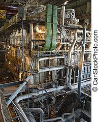 巨人, パイプ, チューブ, そして, 装置, 中, 現代, 産業, 発電所, 夜現場