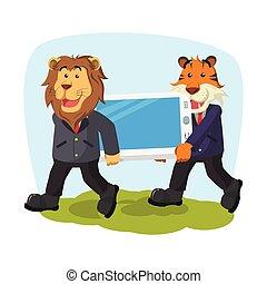 巨人, ビジネス, tiger, 電話, ライオン, 届く