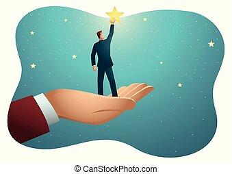 巨人, リーチ, 手, 助力, 星, ビジネスマン, から