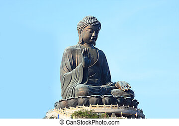 巨人, 佛, 雕像, 在, tian, tan., 香港, 瓷器