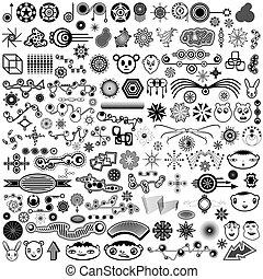巨人, 要素, コレクション, ベクトル, デザイン, 独特