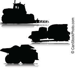 巨型, 卡車, 矢量, 黑色半面畫像