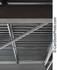 巨大, クローズアップ, 中, 天井, バックグラウンド。, 明るい, 建設, 鉄, warehouse., 構造, 光景