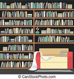 巨大, ソファー, 現代, イラスト, ベクトル, 本棚