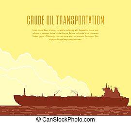 巨大, ベクトル, tanker., イラスト, オイル