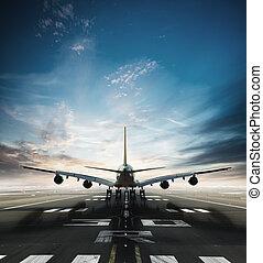 巨大, 二, 樓層, 商業, 噴氣式班機, 拿, ......的, 跑道