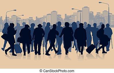 巨大, 人群, ......的, 人們, 黑色半面畫像, 在城市, 風景